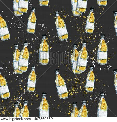 Bottles Of Fizzy Drink With Bubbles Pattern