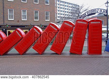 London, United Kingdom - January 29, 2007: Out Of Order Sculpture At Old London Road In Kingston Upo