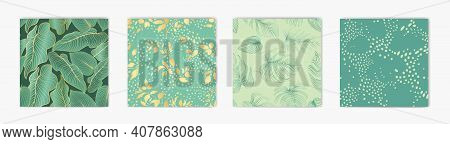 Floral Leaves Seamless Pattern Set. Foliage Garden Background. Floral Ornamenal Tropical Nature Summ