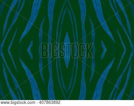Seamless Ethnic Print. Animal Leather Design. Watercolor Wildlife Background. Green Tiger Fur. Zoo W