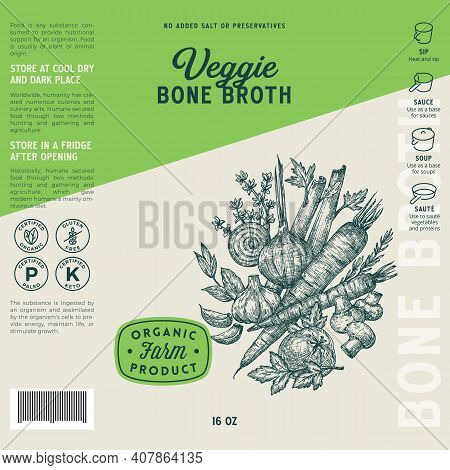 Veggie Bone Broth Label Template. Abstract Vector Food Packaging Design Layout. Hand Drawn Herbs And
