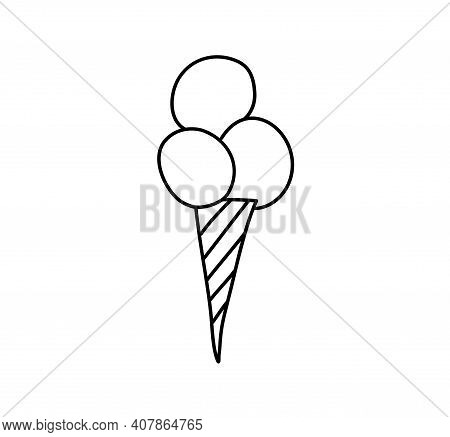 Ice Cream Icon Vector. Line Sweet Food Symbol Isolated. Trendy Flat Outline Sign Design. Thin Linear