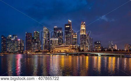 Singapore, Singapore - JULY 14, 2020: View at Singapore City Skyline at night