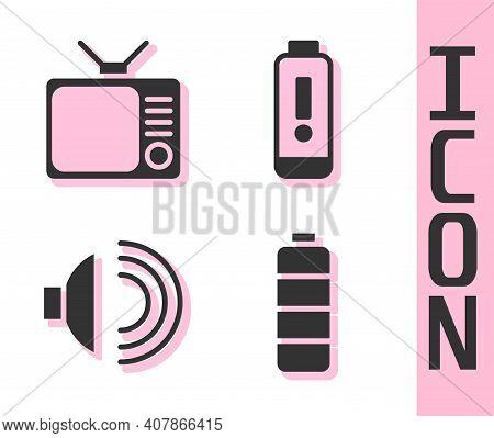 Set Battery Charge Level Indicator, Retro Tv, Speaker Volume And Battery Charge Level Indicator Icon