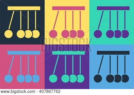 Pop Art Pendulum Icon Isolated On Color Background. Newtons Cradle. Vector