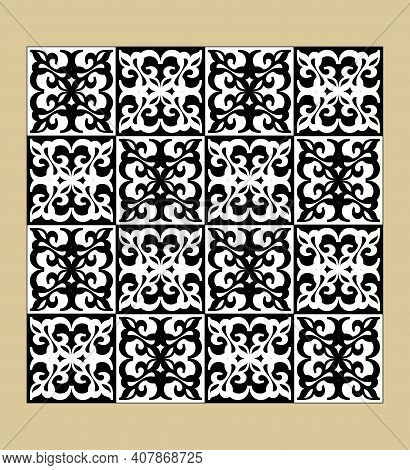 Black And White Vintage Pattern, Fine Geometric Motifs, Checkerboard Design, Inverted Colors, Tileab