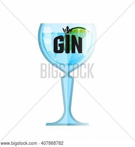 Gin Glass Cocktail Flat Vector Menu Cafe