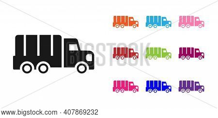 Black Military Truck Icon Isolated On White Background. Set Icons Colorful. Vector
