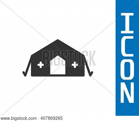 Grey Military Medical Tent Providing First Aid To A Patient Icon Isolated On White Background. Medic