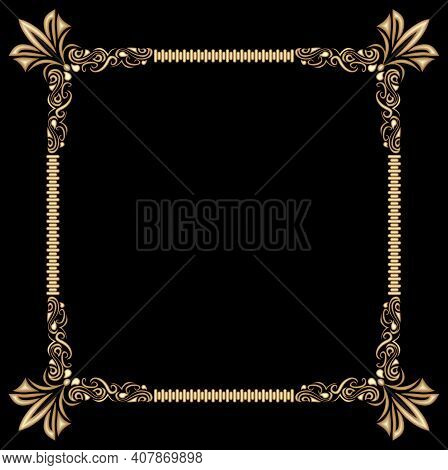 Decorative Gold Frame On Black Background. Baroque Relief Pattern. Space For Custom Text, Such As An