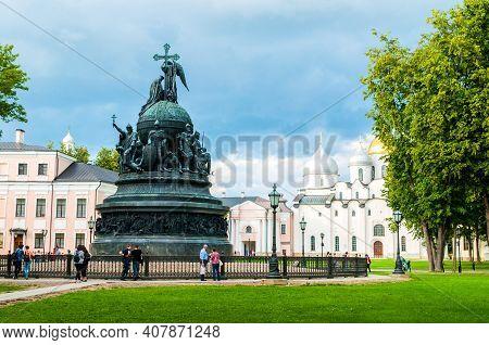 Veliky Novgorod, Russia - August 10, 2019. Veliky Novgorod Kremlin Park Area. Bronze Monument Millen
