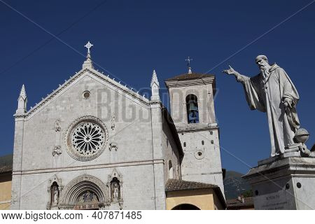 Norcia (pg), Italy - May 25, 2015: Church Of San Benedetto, Norcia, Umbria, Italy, Europe