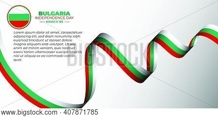 Waving Bulgarian Flag Banner. Good Template For Bulgaria Independence Day Or Liberation Day Design.