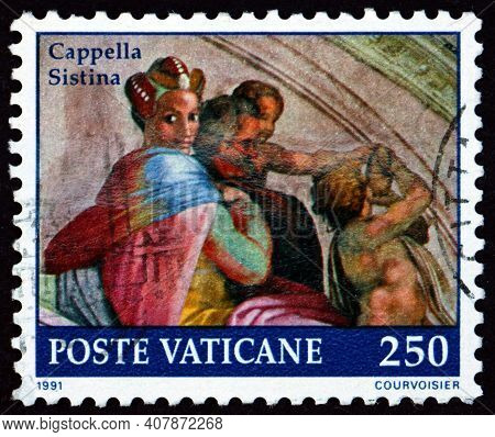 Vatican - Circa 1991: A Stamp Printed In Vatican Shows Jacob, Detail From Painting Of Sistine Chapel