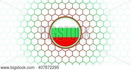 Bulgaria Emblem Flag Vector Illustration With Hexagonal Background. Good Template For Bulgaria Indep