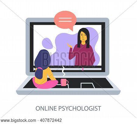Online Psychologist Concept On White Background, Flat Design Vector Illustration