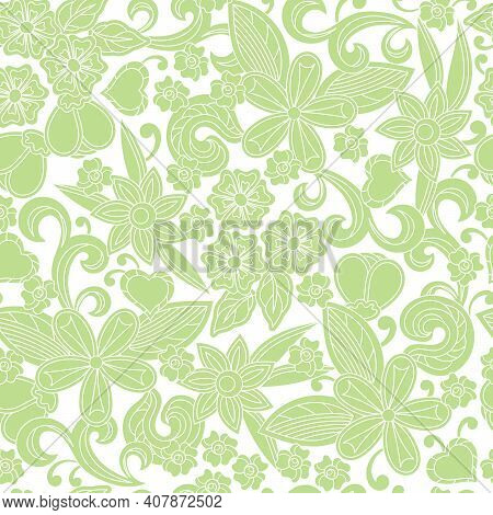 Floral Cartoon Seamless Pattern. Sketchy Compositions With Spring Doodles Objects. Hand Drawn Illust