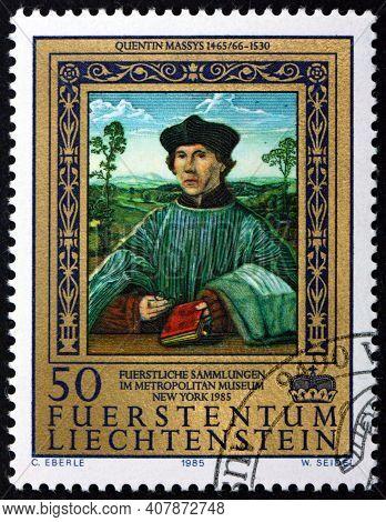 Liechtenstein - Circa 1985: A Stamp Printed In Liechtenstein Shows Portrait Of A Canon, Painting By