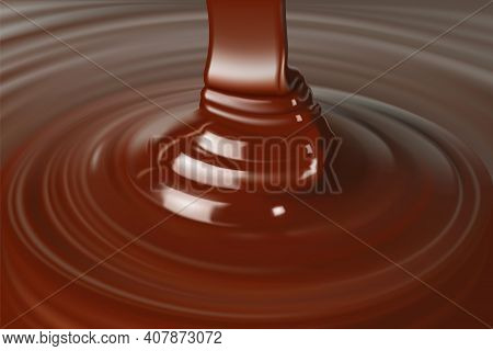 Melted Chocolate Dripping Close-up, Realistic Vector Illustration