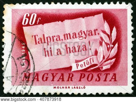Hungary - Circa 1948: A Stamp Printed In Hungary Shows Words 'on Your Feet, Magyar, The Homeland Cal