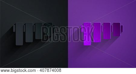 Paper Cut Pan Flute Icon Isolated On Black On Purple Background. Traditional Peruvian Musical Instru