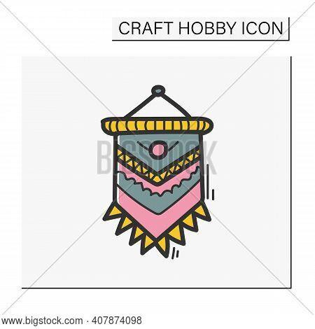 Macrame Color Hand Draw Icon. A Form Of Textile-making Using Knotting. Modern Home Element, Hygge St