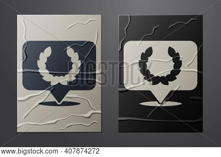 White Laurel Wreath Icon Isolated On Crumpled Paper Background. Triumph Symbol. Paper Art Style. Vec
