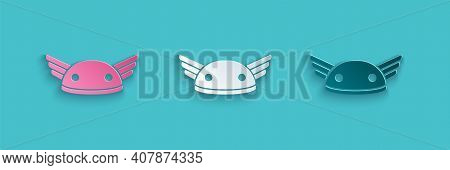 Paper Cut Helmet With Wings Icon Isolated On Blue Background. Greek God Hermes. Paper Art Style. Vec