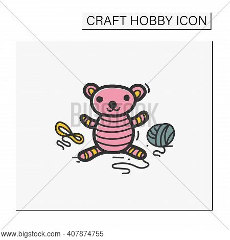 Amigurumi Color Handmade Hand Draw Icon. Knitting A Perfect Teddy-bear, Using Needle Pins And Wool C