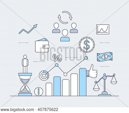 Business Or Investing Application Vector Cartoon Outline Illustration. Rising Bar Graph, Coins, And