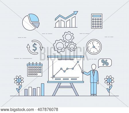 Business Application Vector Cartoon Outline Illustration. Man With White Desk Showing Rising Graph,