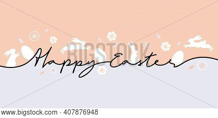 Happy Easter Greeting Card. Trendy Easter Design With Typography, Eggs And Bunnys In Pastel Colors.