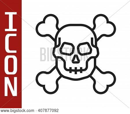 Black Line Skull On Crossbones Icon Isolated On White Background. Happy Halloween Party. Vector