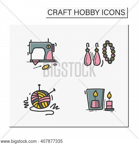 Craft Hobby Set Hand Drawn Color Icons. Handmade And Homemade Concept. Consist Of Sewing, Handmade A