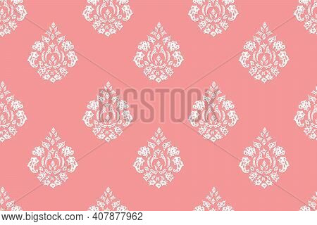 Seamless Raster Pano  With Vintage Elements On Pink Background.