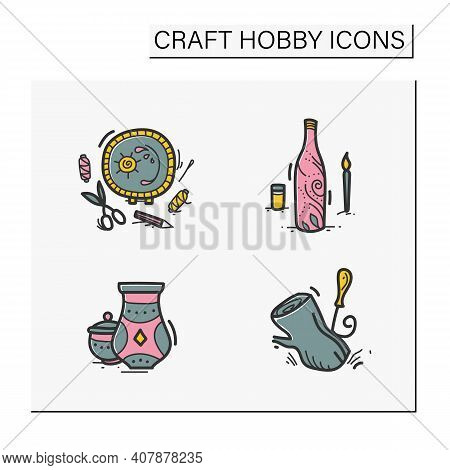 Craft Hobby Set Hand Drawn Color Icons. Handmade And Homemade Concept. Consist Of Embroidery, Potter