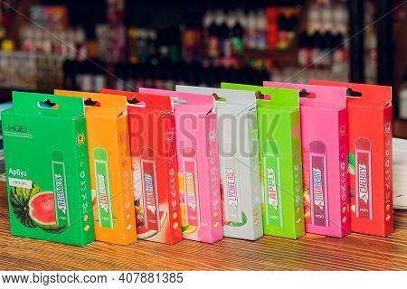 Ufa, Russia, Vape Shop, 3 July, 2020: Vaping Pen, Vape Devices, Mods For Electronic Cigarette Or E C