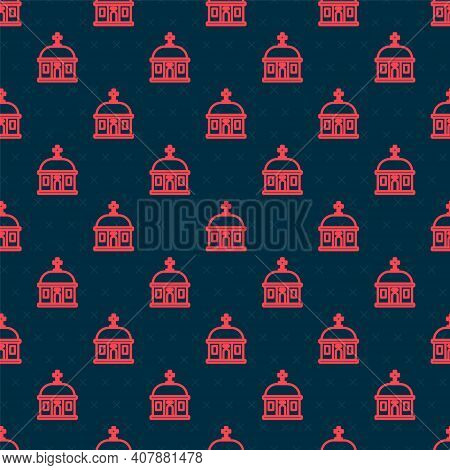 Red Line Santorini Building Icon Isolated Seamless Pattern On Black Background. Traditional Greek Wh