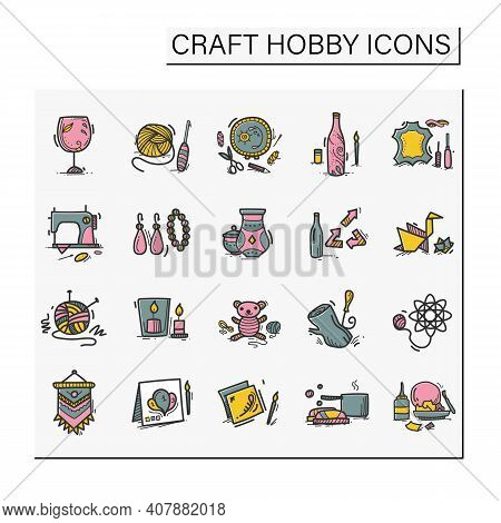 Craft Hobby Set Hand Drawn Color Icons. Handmade And Homemade Concept. Consist Of Sewing, Etching, B