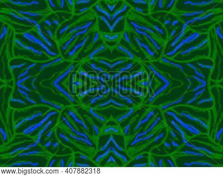 Seamless Ethnic Texture. Fashion Exotic Fabric Design. Psychedelic Safari Ornament. Dark Tiger Fur.