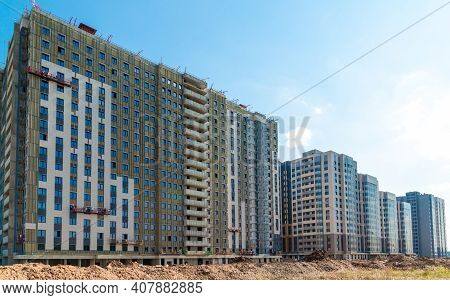 Typical Modern Panel Residential Building Under Construction, Russia