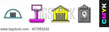 Set Hangar, Scale, Warehouse And Document Tracking Marker System Icon. Vector