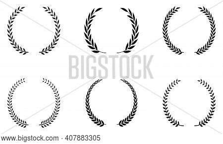 Six Laurel Honor Wreath Vector In Black. Left And Right Single. White Isolated Background.