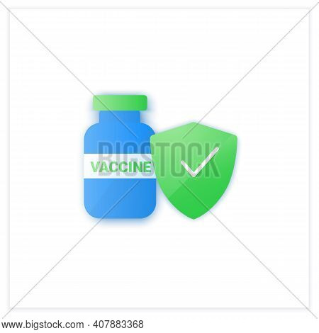 Safe Vaccine Flat Icon. Successfully Trialed And Approved Vaccine. Cure Search, Vaccine Development.