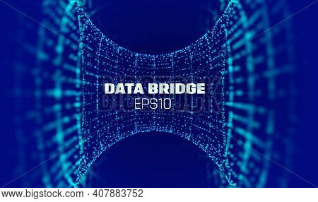 Vector Abstract 3d Big Data Visualization. Data Security Bridge. Computer Network Security Technolog