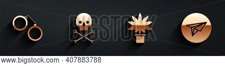 Set Handcuffs, Skull On Crossbones, Marijuana Or Cannabis Plant In Pot And Messenger Icon With Long