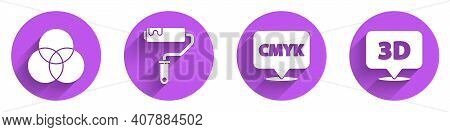 Set Rgb And Cmyk Color Mixing, Paint Roller Brush, Speech Bubble With Text Cmyk And Speech Bubble Wi