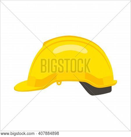 Construction Helmet Icon. Yellow Hard Hat Worker Safety Isolated On White Background. Can Be Used He