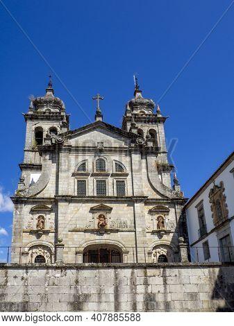 Facade Of Mosteiro De São Martinho De Tibães In Braga, Portugal
