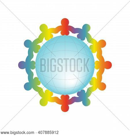Colorful Kids Silhouette Around The Blue Ball Symbolize People Different Culture Standing Together H